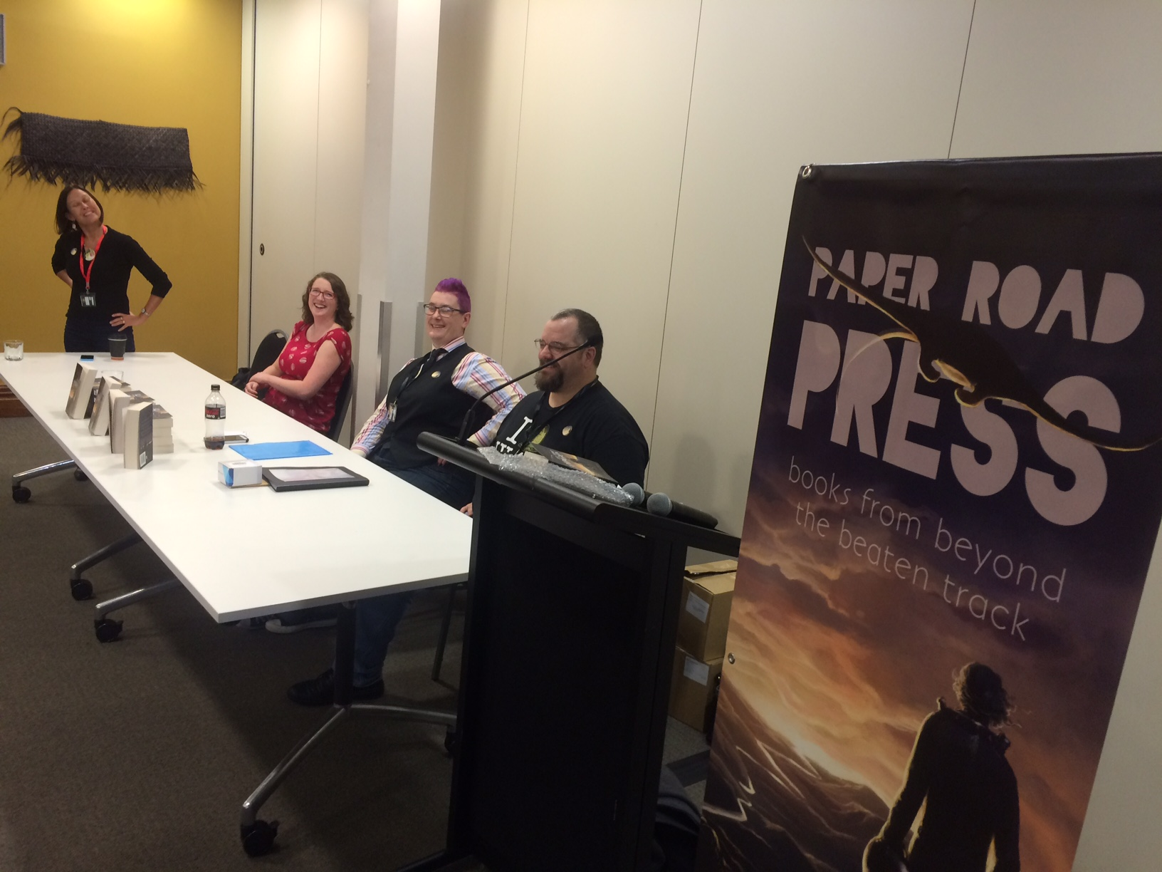 At The Edge book launch with Lee Murray, Marie Hodgkinson, AJ Fitzwater, and Paul Mannering